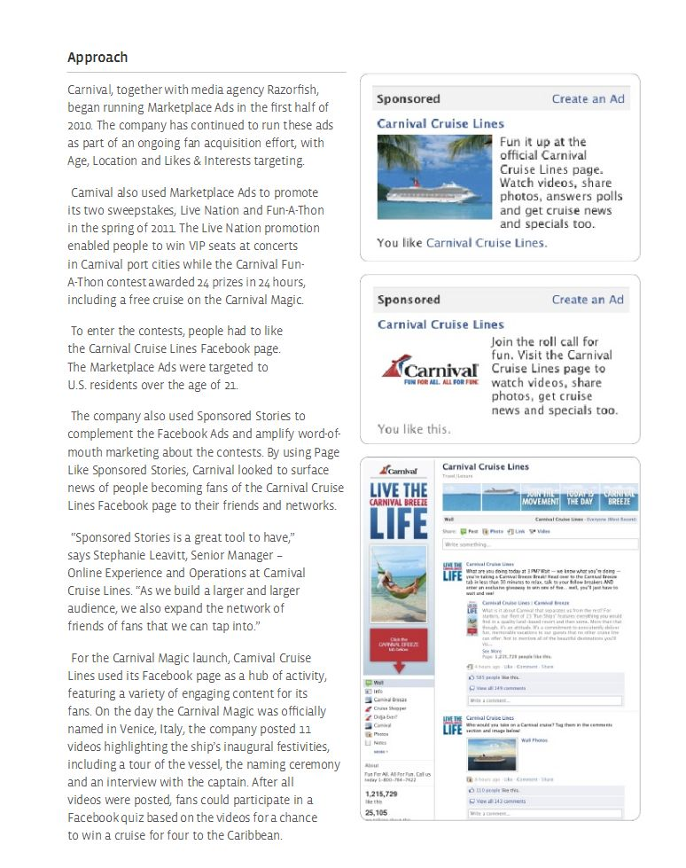 Carnival Cruise case study Facebook Ads