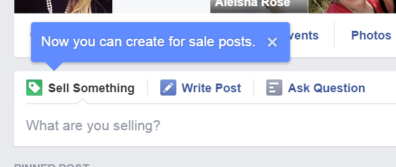 facebook pulsante sell something