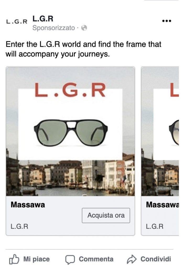 recupero carrello abbandonato facebook ads - esempio